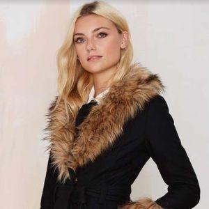 Nasty Gal faux fur collar coat